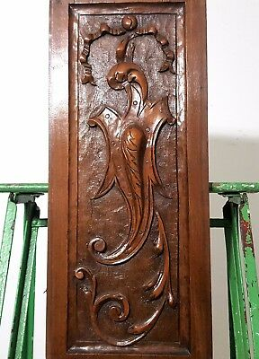 Hand Carved Wood Panel Antique French Gothic Coat Of Arms Architectural Salvage