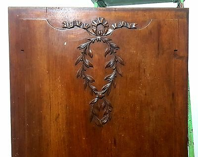 Hand Carved Wood Panel Antique French Bas-Relief Bow Louis Xvi Upcycled Carving