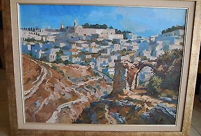 "Robert Rosenberg ""View Of Old Jerusalem"" Oil On Canvas Painting Israel Holy Land"