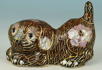 Chinese Old Cloisonne Handmade Painting Dog Collect Statue Decoration