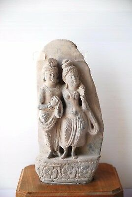 Authentic Gandhara Statue of Oriental Figures Man and Woman Old Rare Antique Art