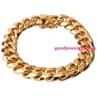 Men's Gift 316L Stainless Steel 15mm Gold Miami Cuban Curb Chain Bracelet Bangle