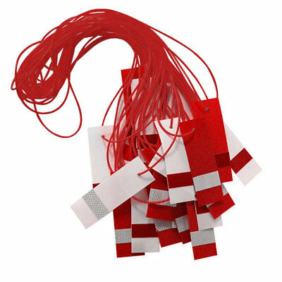 Reflective Hazard Bunting Caution Marker Rope Safety Pendant Flag Red White, 26m