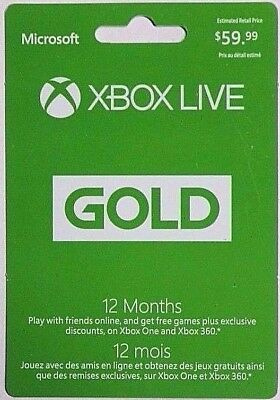 Xbox Live 12 Month Gold Subscription Physical Card for XBox One & Xbox 360