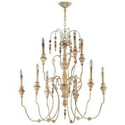 French Vintage Style Maison Chandelier 9 Light Beaded Wood & Iron Cottage Chic