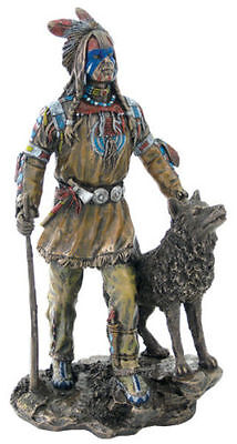 CHRISTMAS GIFT - Plains Native American Indian w/ Wolf Statue Figure Sculpture