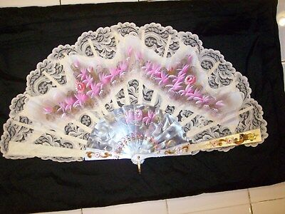 "Vintage Ladies Hand Painted Spanish Lace Flowered Folding Hand Fan 19""x10"""