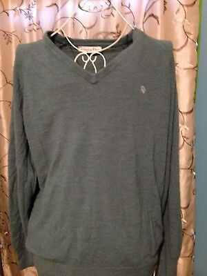 Vintage Christian Dior Green V Neck Long Sleeve Men's Sweater Size Large