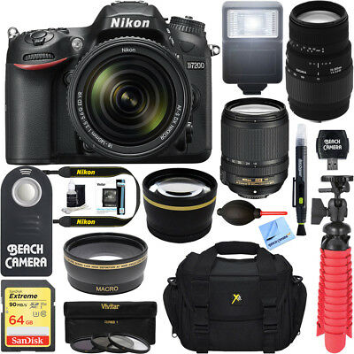 Nikon D7200 DX Format Black DSLR Camera+18-140mm VR & 70-300mm Macro Lens Bundle