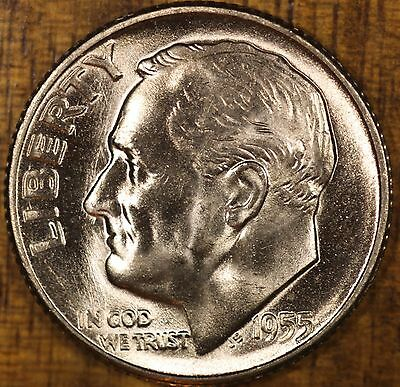 1955 S Roosevelt Dime 10C  CH BU  LUSTER! 90% Silver FREE SHIPPING