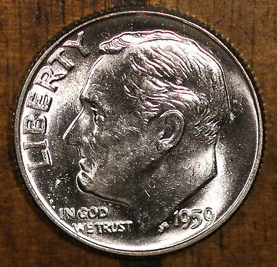 1959 P Roosevelt Dime CH BU LUSTER! 90% Silver US Coin