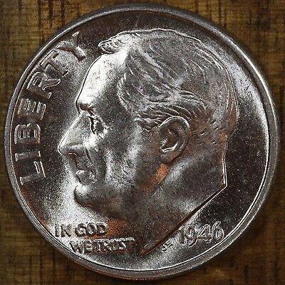 1946 D Roosevelt Dime CH BU LUSTER! 90% Silver US Coin