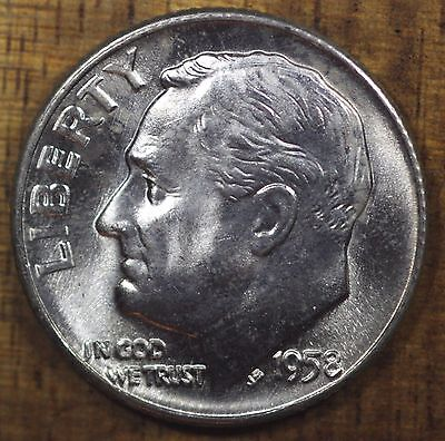 1958 D Roosevelt Dime CH BU LUSTER! 90% Silver US Coin FREE SHIPPING