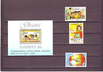 a131 - GHANA - SG1181-MS1184 MNH 1986 AMERIPEX INTERNATIONAL STAMP EXHIBITION