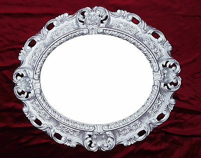 Wall Mirror Silver Oval 45 x 38 cm Baroque Antique Repro Vintage 345 12