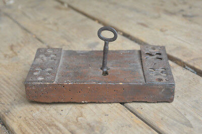 Vintage door lock old wooden door lock old iron key church lock - FREE POSTAGE