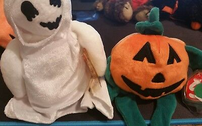TY beanie Babies Pumkin and sheets halloween beanies