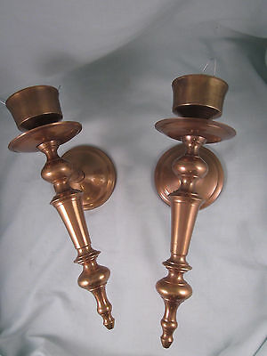 Vintage Pair of Solid Aged Brass Wall Mount Candle Holder Sconces Made India