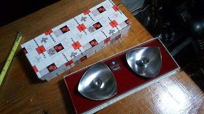 2 x VINTAGE TUDOR KNIGHTS STAINLESS STEEL CANDLE HOLDERS BOXED K45