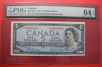 ✪ 1954 $5 Bank of Canada *N/X Replacement 0018902 - 569.95 PMG Ch UNC 64 EPQ