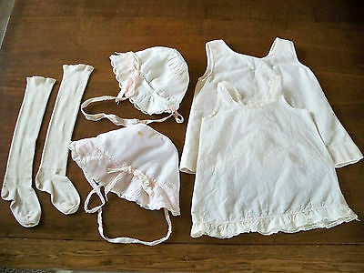VTG 1940's Baby Girls Clothes 2 Under Slips, 2 Bonnets Hats & Pair Socks