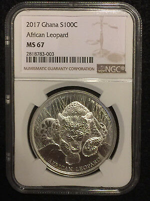 2017 Silver Ghana African Leopard 100 Cedis  1 oz - Only 5k minted - NGC MS67
