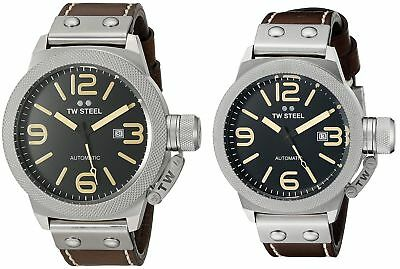 TW Steel Men's Canteen Automatic Black Dial Brown Leather - Choice of 50 or 45mm