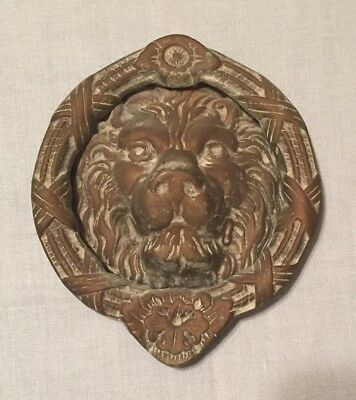 "Vintage Solid Brass LION HEAD DOOR KNOCKER Ornate Heavy & Large 7 3/4"" Tall"