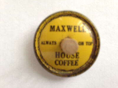 """Vintage Maxwell House (Cheek Neal ?) Tin Advertising Top @1.5"""". Wooden Axle"""