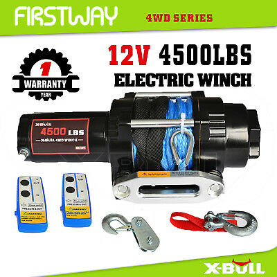 X-BULL Electric Winch 4500LBS/2041kg Synthetic Rope 2 Remote Wireless ATV 12V