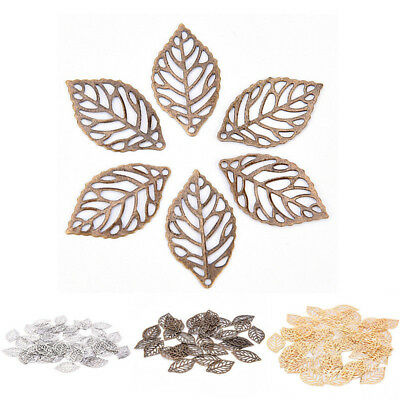 50pcs Gold Charm Filigree Hollow Leaves Pendant DIY Jewelry Making Hot