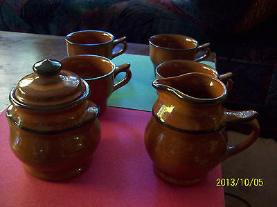 Set Of 6 Franciscan England Pottery Creamer, Sugar Bowl And 4 Cups