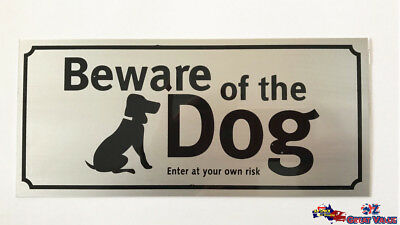 Beware of the Dog Stick On Sign Office Shop Motel Hotel Warning Sign Alloy OZ