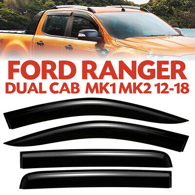 Weather Shield Window Visor for Ford Ranger MK1 MK2 11-18 Double Cab Wildtrack