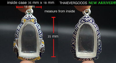 35mm X 18mm PHRA ROD EMPTY CASE FRAME REAL SILVER 30% PAINT LINETHAI THAI AMULET