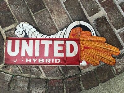 Vintage United Hybrid Seed Corn Metal Sign  Back to Back Image