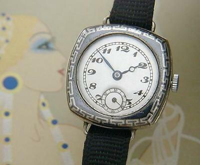 BEAUTIFUL & RARE Ladies' Antique LeCoultre Niello Wire Lug Watch SERVICED!