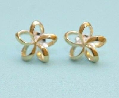 Hawaiian Silver Gold-Tone Plumeria Flower Open Petal Stud Earrings 13Mm