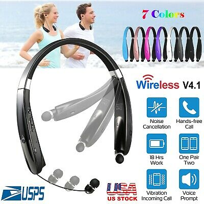Foldable Retractable Bluetooth Headset Headphone Wireless Sport Neckband Earbuds