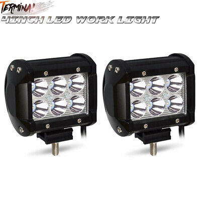 2X 4INCH 18W LED WORK LIGHT BAR SPOT Fit OFFROAD UTE REVERSING TRUCK 6""