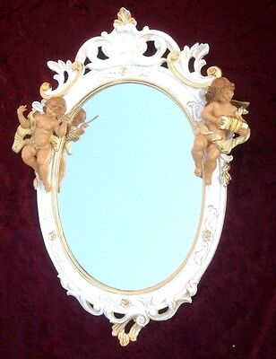 Baroque Wall Mirror White Gold Antique Rococo 50X32 Angel Floor Oval C445SBA