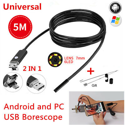7MM 5M Endoscope HD USB Android Tube Borescope 6Led Inspection Camera For Cars