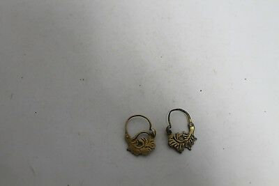 Antique Vintage Earring Woman  Balkan Ottoman Silver With Gold Plated