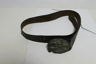Antique Ottoman Turkish Primitive Leather  Womans Belt With Buckles.