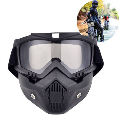 Detachable Motorcycle Bike Riding Modular Helmet Open Face Mask Shield Goggles