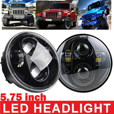 """1 Pair 5-3/4"""" 5.75"""" Round CREE LED 40W Headlights Projector For Harley Jeep"""
