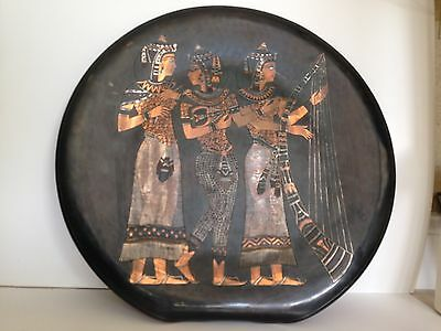 """Egyptian Women & Instruments Copper Art Decor With Inlaid Silver 20"""" Diameter"""