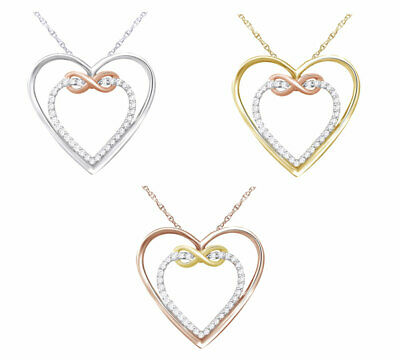 IGI Certified 1/10 Ct Round Cut Natural Diamond Heart Pendant Necklace 10K Two