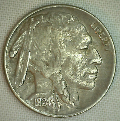 1924 Buffalo Nickel Coin Indian Head Five Cents US Type Extra Fine XF 5c
