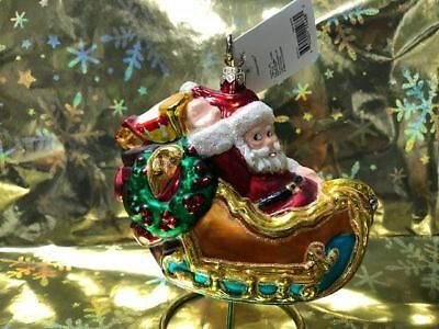 Christopher Radko 1998 FAO Schwarz 1929 Santa In Sleigh Christmas Tree Ornament